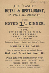 Advert for the Castle Hotel & Restaurant